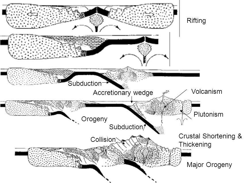Rifting Major Orogeny Orogeny Subduction Accretionary wedge Volcanism Plutonism Subduction Collision Crustal Shortening & Thickening
