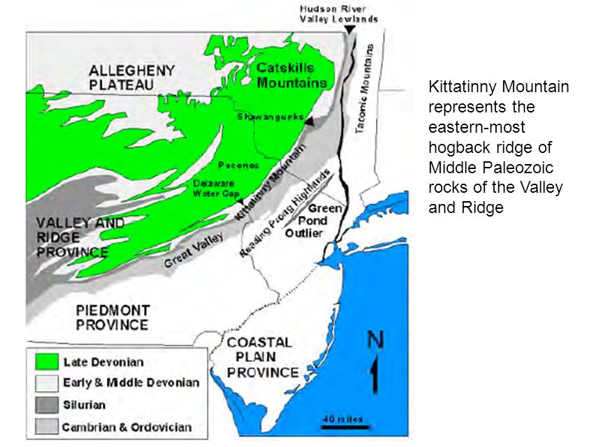 Kittatinny Mountain represents the eastern-most hogback ridge of Middle Paleozoic rocks of the Valley and Ridge