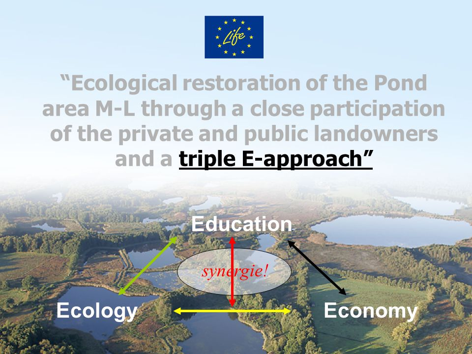 Ecological restoration of the Pond area M-L through a close participation of the private and public landowners and a triple E-approach EcologyEconomy Education synergie!