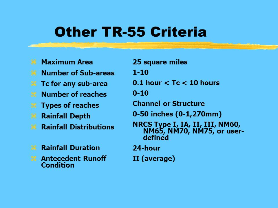 Other TR-55 Criteria zMaximum Area zNumber of Sub-areas zTc for any sub-area zNumber of reaches zTypes of reaches zRainfall Depth zRainfall Distributions zRainfall Duration zAntecedent Runoff Condition 25 square miles 1-10 0.1 hour < Tc < 10 hours 0-10 Channel or Structure 0-50 inches (0-1,270mm) NRCS Type I, IA, II, III, NM60, NM65, NM70, NM75, or user- defined 24-hour II (average)