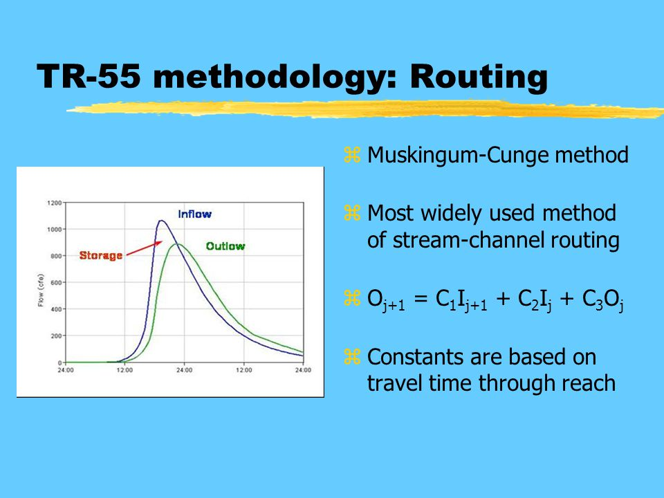 TR-55 methodology: Routing z Muskingum-Cunge method z Most widely used method of stream-channel routing z O j+1 = C 1 I j+1 + C 2 I j + C 3 O j z Constants are based on travel time through reach