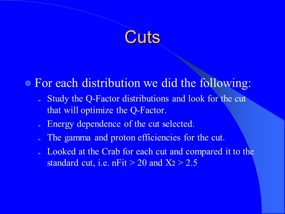 Cuts For each distribution we did the following: ➢ Study the Q-Factor distributions and look for the cut that will optimize the Q-Factor.