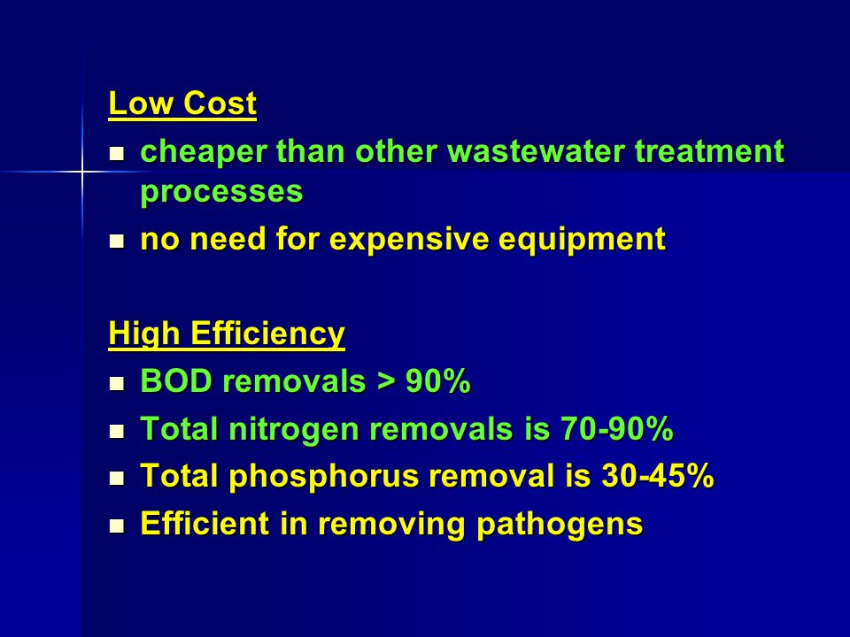 Low Cost cheaper than other wastewater treatment processes cheaper than other wastewater treatment processes no need for expensive equipment no need f