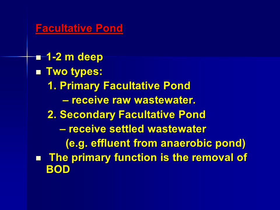 Facultative Pond 1-2 m deep 1-2 m deep Two types: Two types: 1.