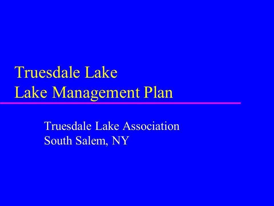 Truesdale Lake Lake Management Plan Truesdale Lake Association South Salem, NY