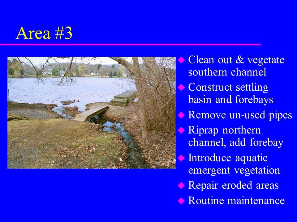 Area #3 u Clean out & vegetate southern channel u Construct settling basin and forebays u Remove un-used pipes u Riprap northern channel, add forebay u Introduce aquatic emergent vegetation u Repair eroded areas u Routine maintenance
