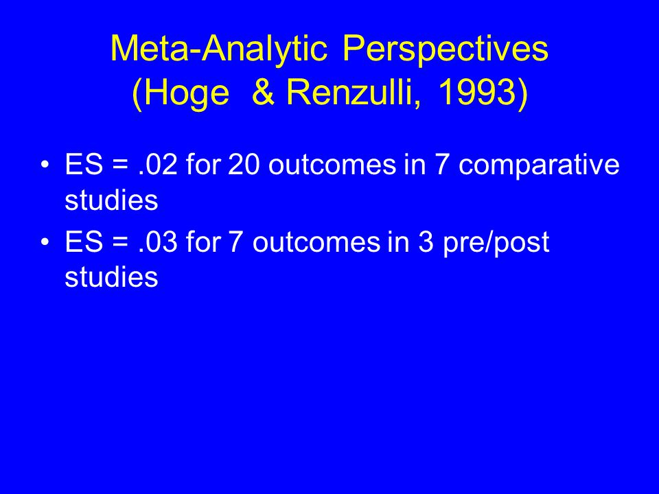 Meta-Analytic Perspectives (Hoge & Renzulli, 1993) ES =.02 for 20 outcomes in 7 comparative studies ES =.03 for 7 outcomes in 3 pre/post studies