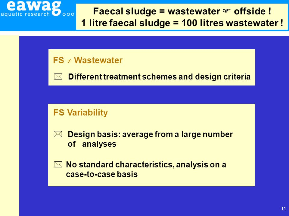 11 * Different treatment schemes and design criteria FS  Wastewater FS Variability * Design basis: average from a large number of analyses * No stand