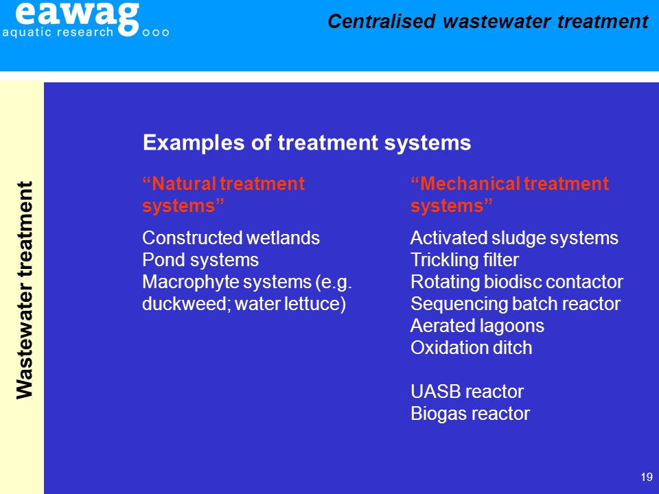 19 Wastewater treatment Constructed wetlands Pond systems Macrophyte systems (e.g. duckweed; water lettuce) Examples of treatment systems Activated sl