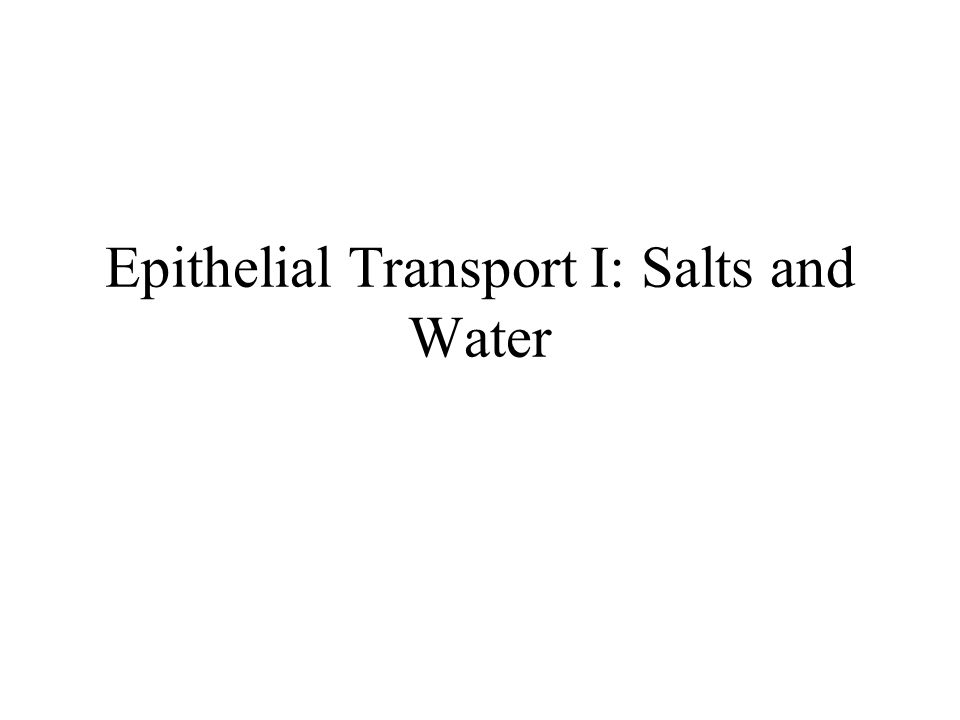 Epithelial Transport I: Salts and Water