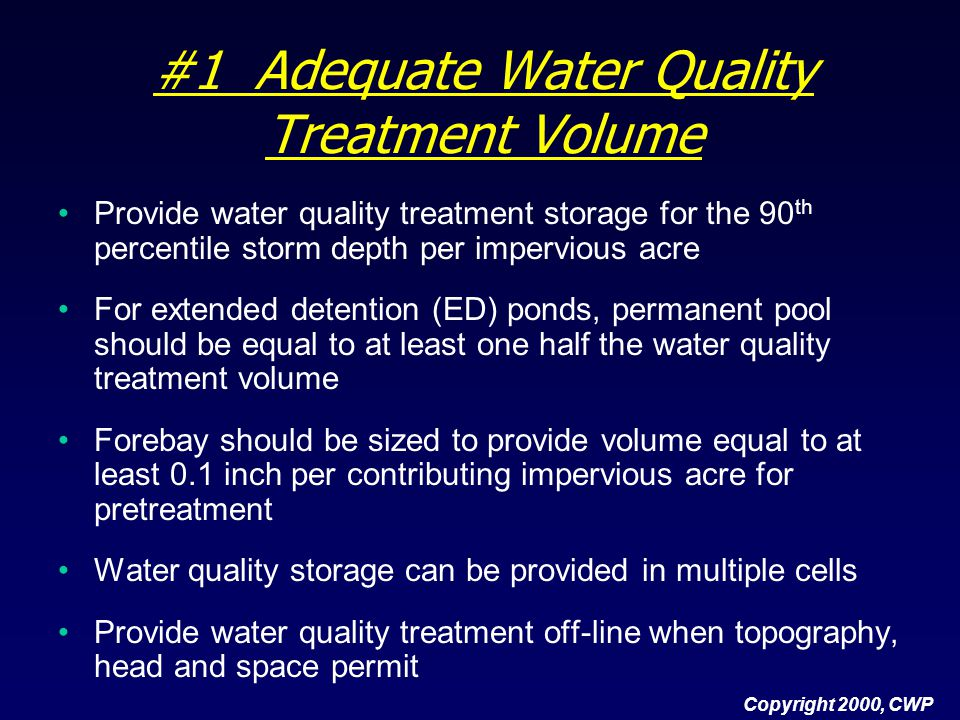#4 Sediment Forebay - I Each pond shall have a sediment forebay, consisting of a separate cell Size forebay to contain 0.1 inches per impervious acre.