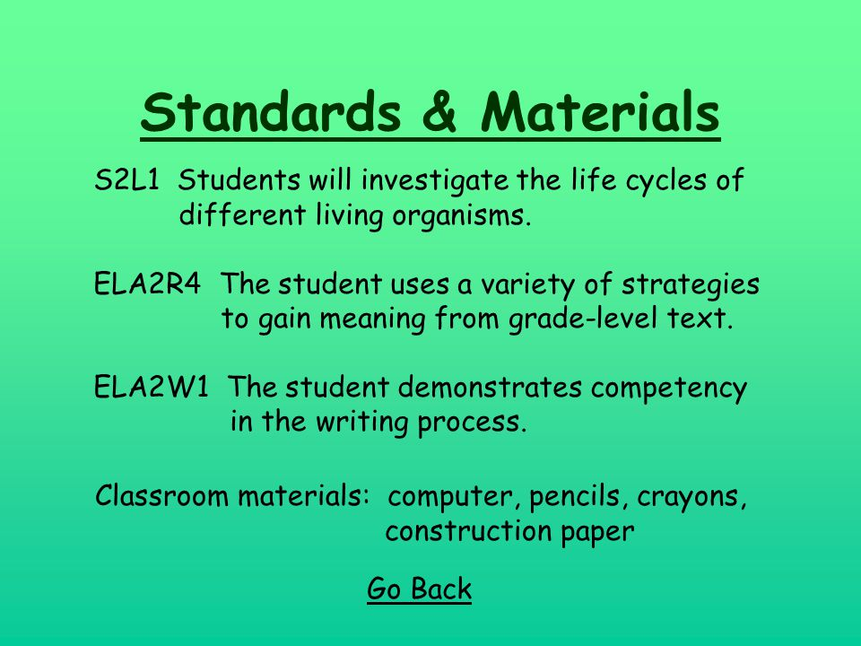 Standards & Materials Go Back S2L1 Students will investigate the life cycles of different living organisms. ELA2R4 The student uses a variety of strat