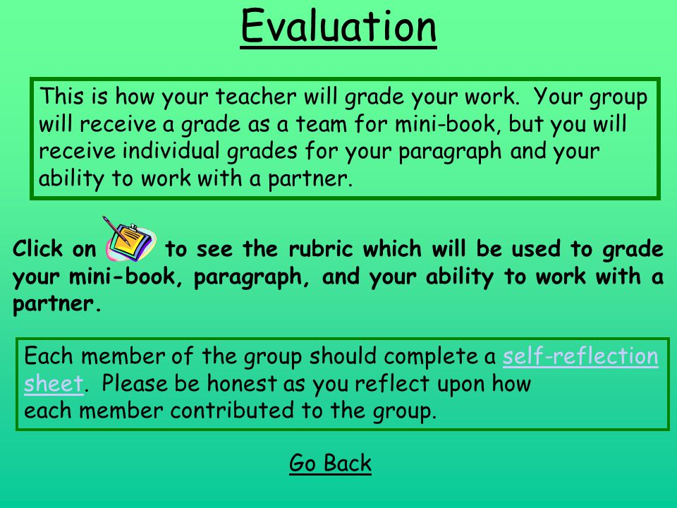 Evaluation Click on to see the rubric which will be used to grade your mini-book, paragraph, and your ability to work with a partner. Go Back This is