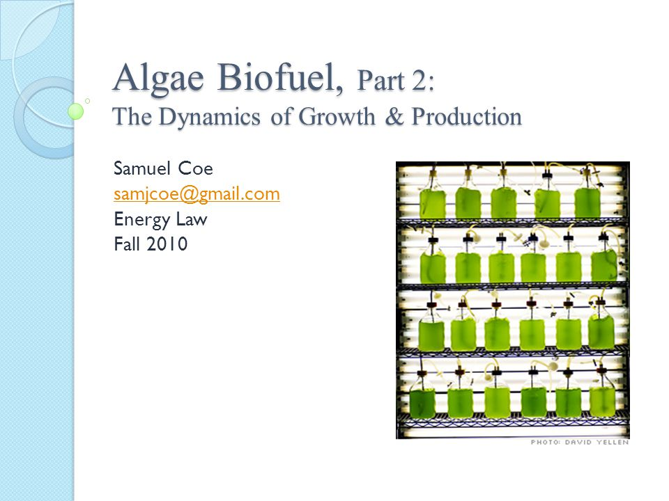 Algae Biofuel, Part 2: The Dynamics of Growth & Production Samuel Coe samjcoe@gmail.com Energy Law Fall 2010