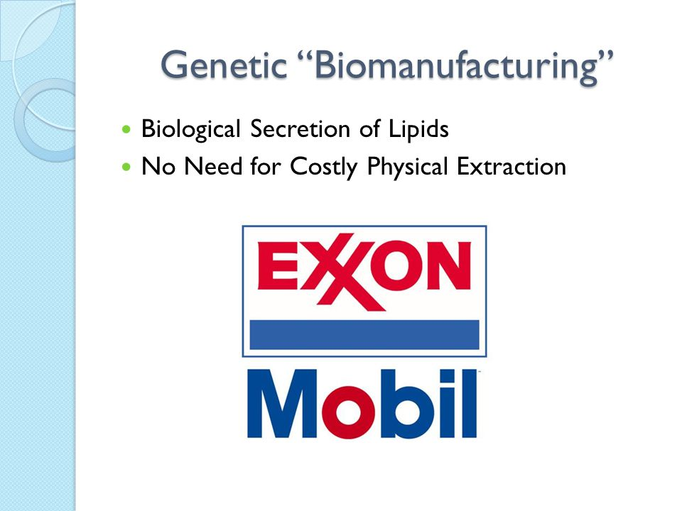 "Genetic ""Biomanufacturing"" Biological Secretion of Lipids No Need for Costly Physical Extraction"