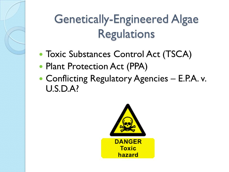 Genetically-Engineered Algae Regulations Toxic Substances Control Act (TSCA) Plant Protection Act (PPA) Conflicting Regulatory Agencies – E.P.A. v. U.
