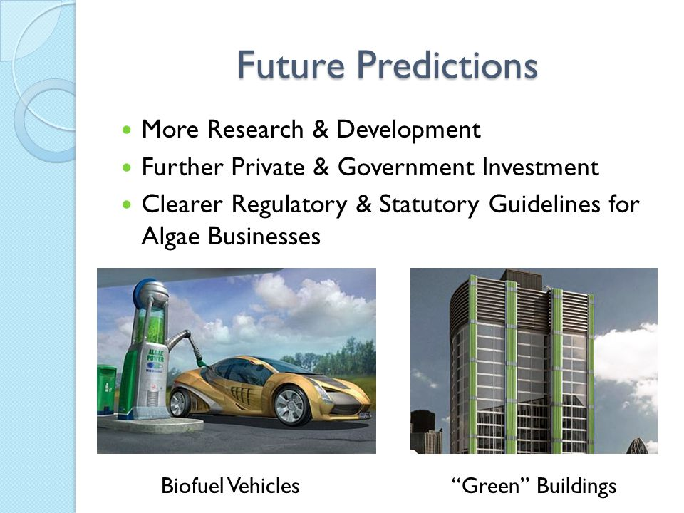 "Future Predictions Biofuel Vehicles""Green"" Buildings More Research & Development Further Private & Government Investment Clearer Regulatory & Statutor"