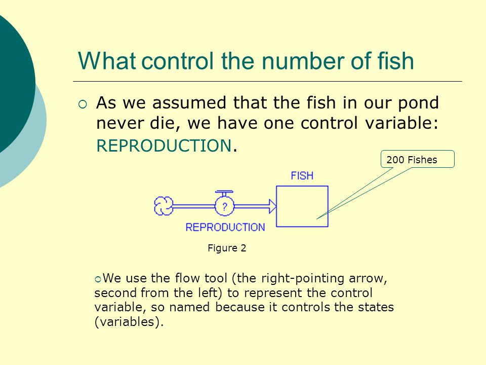 What control the number of fish  As we assumed that the fish in our pond never die, we have one control variable: REPRODUCTION.
