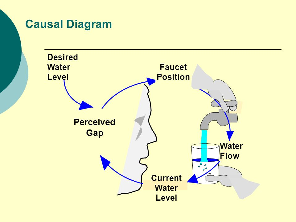 Causal Diagram Desired Water Level Perceived Gap Faucet Position Water Flow Current Water Level