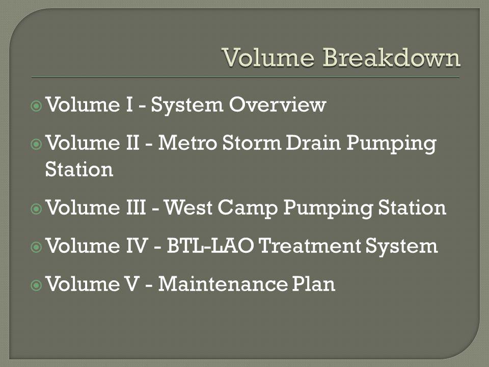  Volume I - System Overview  Volume II - Metro Storm Drain Pumping Station  Volume III - West Camp Pumping Station  Volume IV - BTL-LAO Treatment System  Volume V - Maintenance Plan