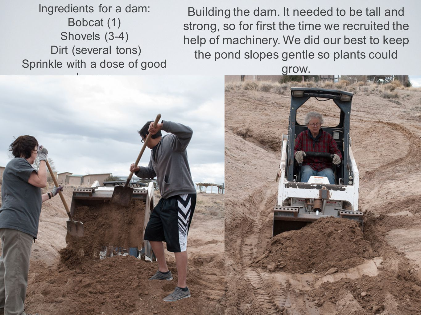 Ingredients for a dam: Bobcat (1) Shovels (3-4) Dirt (several tons) Sprinkle with a dose of good humor. Building the dam. It needed to be tall and str