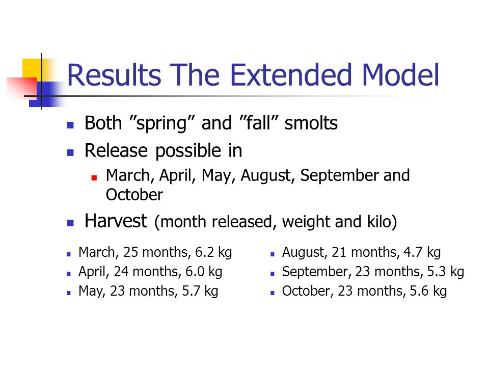Results the Faustmann model Typical spring -smolts (150 gram) with April growth function.