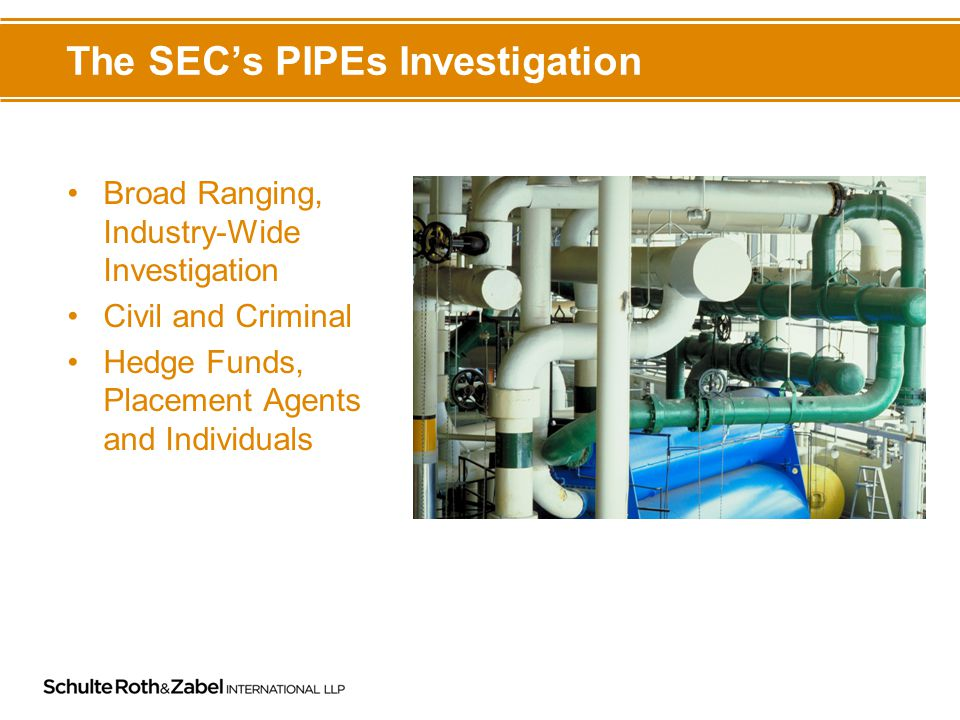 The SEC's PIPEs Investigation Broad Ranging, Industry-Wide Investigation Civil and Criminal Hedge Funds, Placement Agents and Individuals