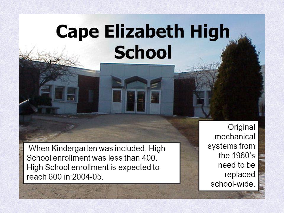 Cape Elizabeth High School When Kindergarten was included, High School enrollment was less than 400.