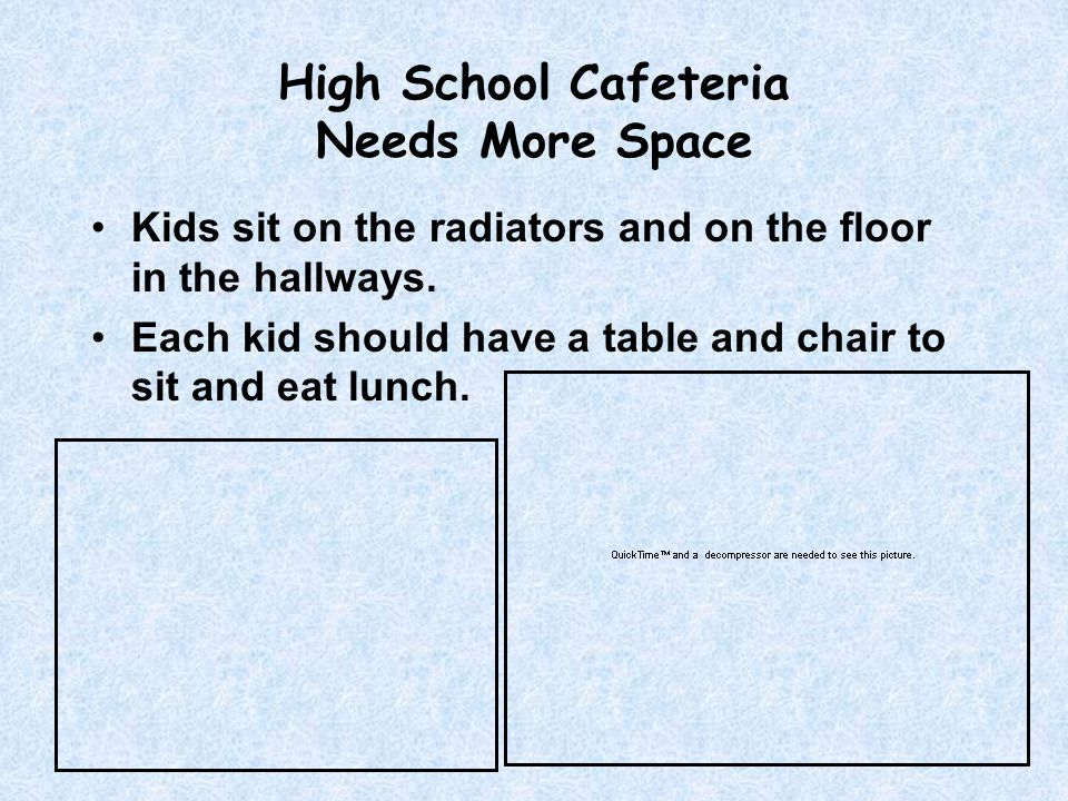 High School Cafeteria Needs More Space Kids sit on the radiators and on the floor in the hallways.