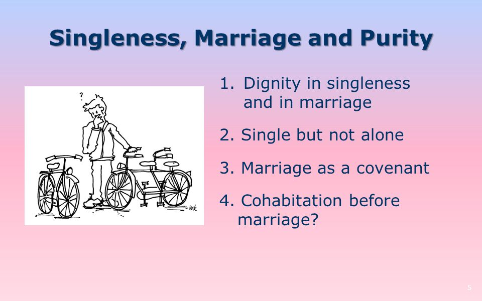 Singleness, Marriage and Purity 5 1.Dignity in singleness and in marriage 2. Single but not alone 3. Marriage as a covenant 4. Cohabitation before mar