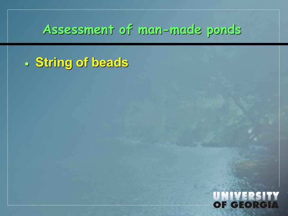 Assessment of man-made ponds  String of beads