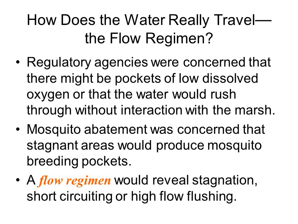 How Does the Water Really Travel — the Flow Regimen? Regulatory agencies were concerned that there might be pockets of low dissolved oxygen or that th