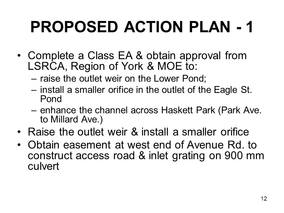 12 PROPOSED ACTION PLAN - 1 Complete a Class EA & obtain approval from LSRCA, Region of York & MOE to: –raise the outlet weir on the Lower Pond; –install a smaller orifice in the outlet of the Eagle St.