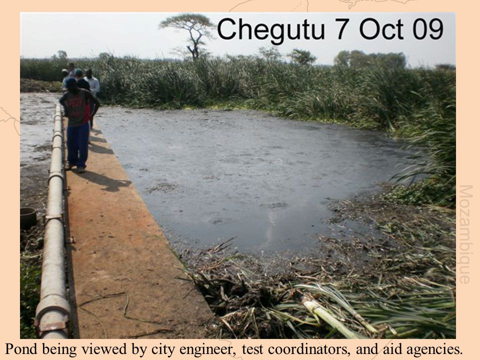 9 Pond being viewed by city engineer, test coordinators, and aid agencies.
