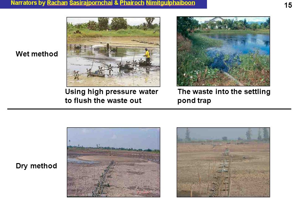 Wet method Using high pressure water to flush the waste out The waste into the settling pond trap Dry method 15