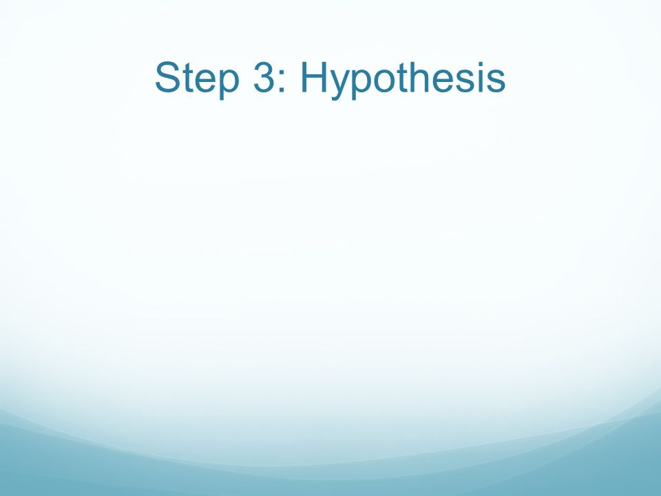 Step 3: Hypothesis