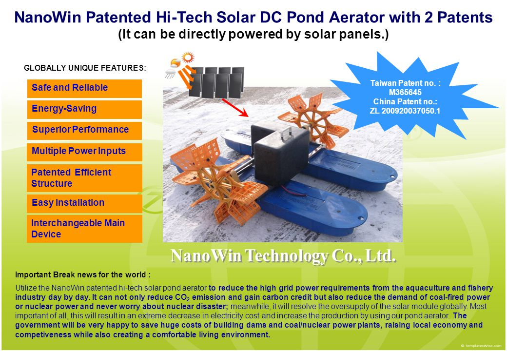 NanoWin Patented Hi-Tech Solar DC Pond Aerator with 2 Patents (It can be directly powered by solar panels.) Superior Performance Easy Installation Saf