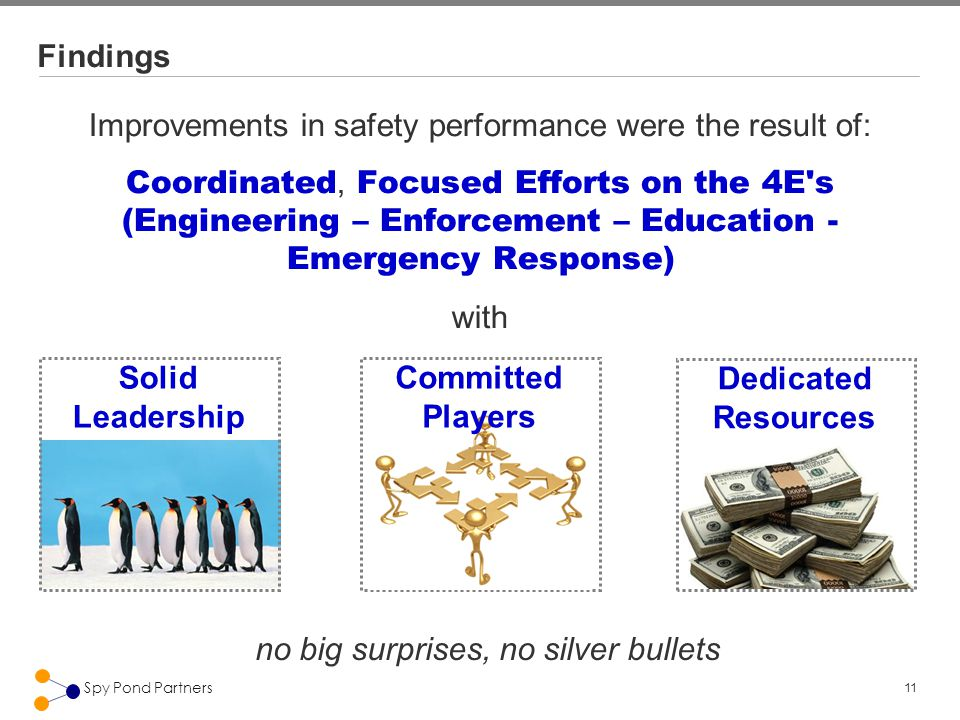 11 Spy Pond Partners Findings Improvements in safety performance were the result of: Coordinated, Focused Efforts on the 4E s (Engineering – Enforcement – Education - Emergency Response) with no big surprises, no silver bullets Solid Leadership Dedicated Resources Committed Players