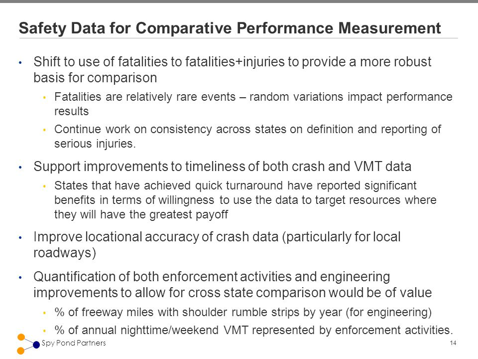 14 Spy Pond Partners Safety Data for Comparative Performance Measurement Shift to use of fatalities to fatalities+injuries to provide a more robust ba