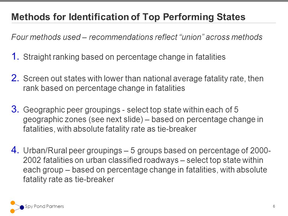 6 Spy Pond Partners Methods for Identification of Top Performing States Four methods used – recommendations reflect union across methods 1.