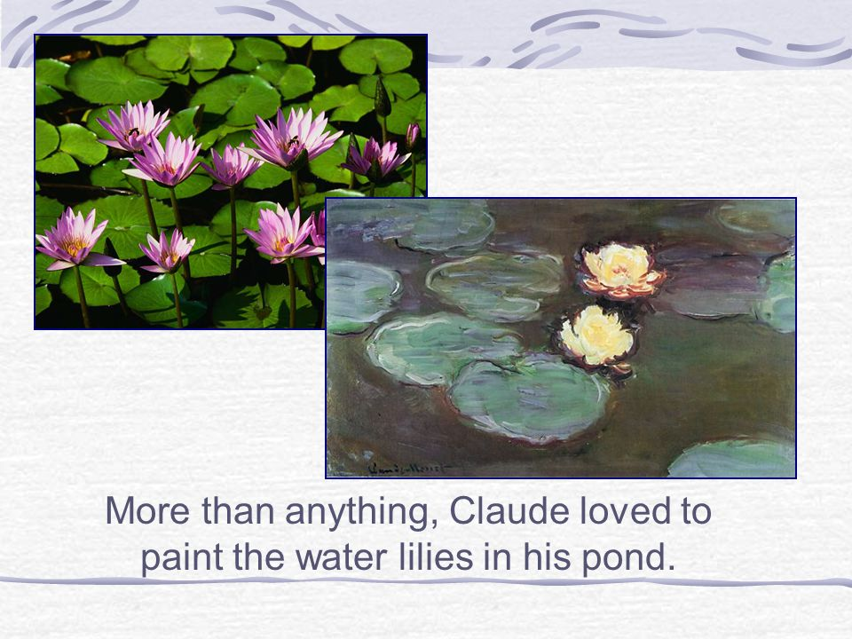 More than anything, Claude loved to paint the water lilies in his pond.