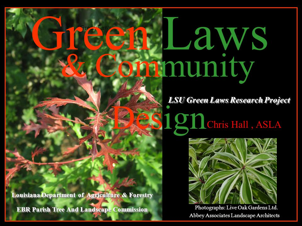 & Community Design LSU Green Laws Research Project Green Laws Louisiana Department of Agriculture & Forestry EBR Parish Tree And Landscape Commission Louisiana Department of Agriculture & Forestry EBR Parish Tree And Landscape Commission Photographs: Live Oak Gardens Ltd.