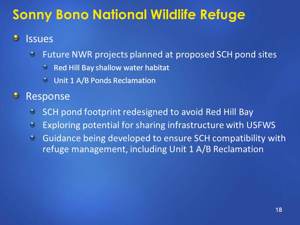 Sonny Bono National Wildlife Refuge Issues Future NWR projects planned at proposed SCH pond sites Red Hill Bay shallow water habitat Unit 1 A/B Ponds