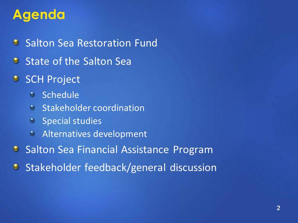 2 Agenda Salton Sea Restoration Fund State of the Salton Sea SCH Project Schedule Stakeholder coordination Special studies Alternatives development Salton Sea Financial Assistance Program Stakeholder feedback/general discussion 2