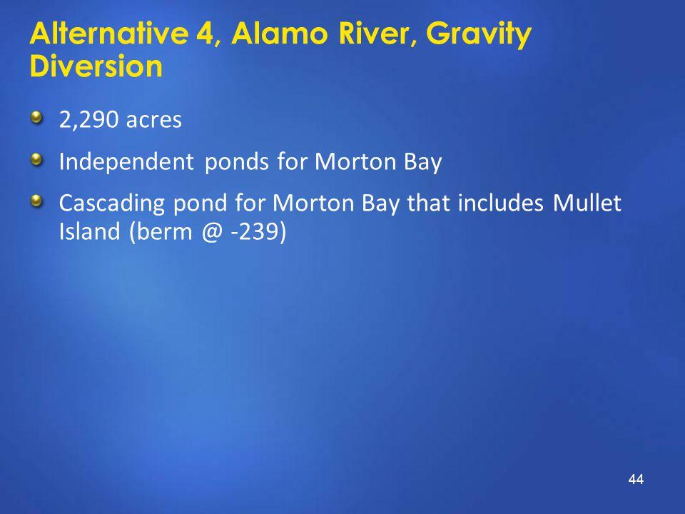 Alternative 4, Alamo River, Gravity Diversion 2,290 acres Independent ponds for Morton Bay Cascading pond for Morton Bay that includes Mullet Island (berm @ -239) 44