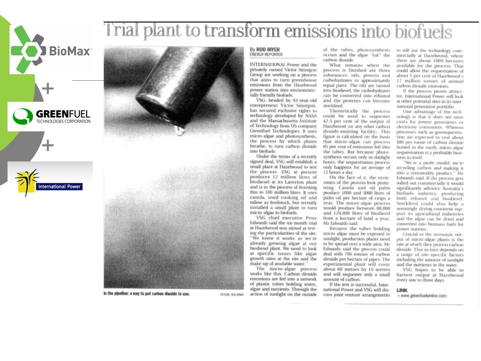 http://www.theage.com.au/news/business/trial-plant-to-transform-emissions-into-biofuels/2006/11/12/1163266412354.html + +
