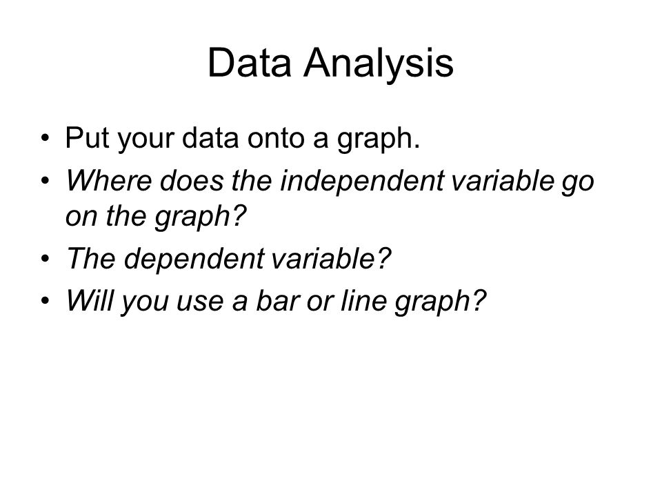 Data Analysis Put your data onto a graph. Where does the independent variable go on the graph.