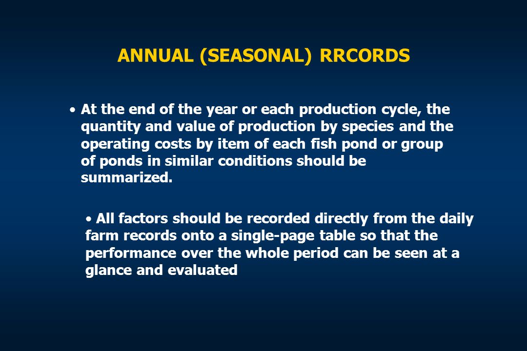 ANNUAL (SEASONAL) RRCORDS At the end of the year or each production cycle, the quantity and value of production by species and the operating costs by