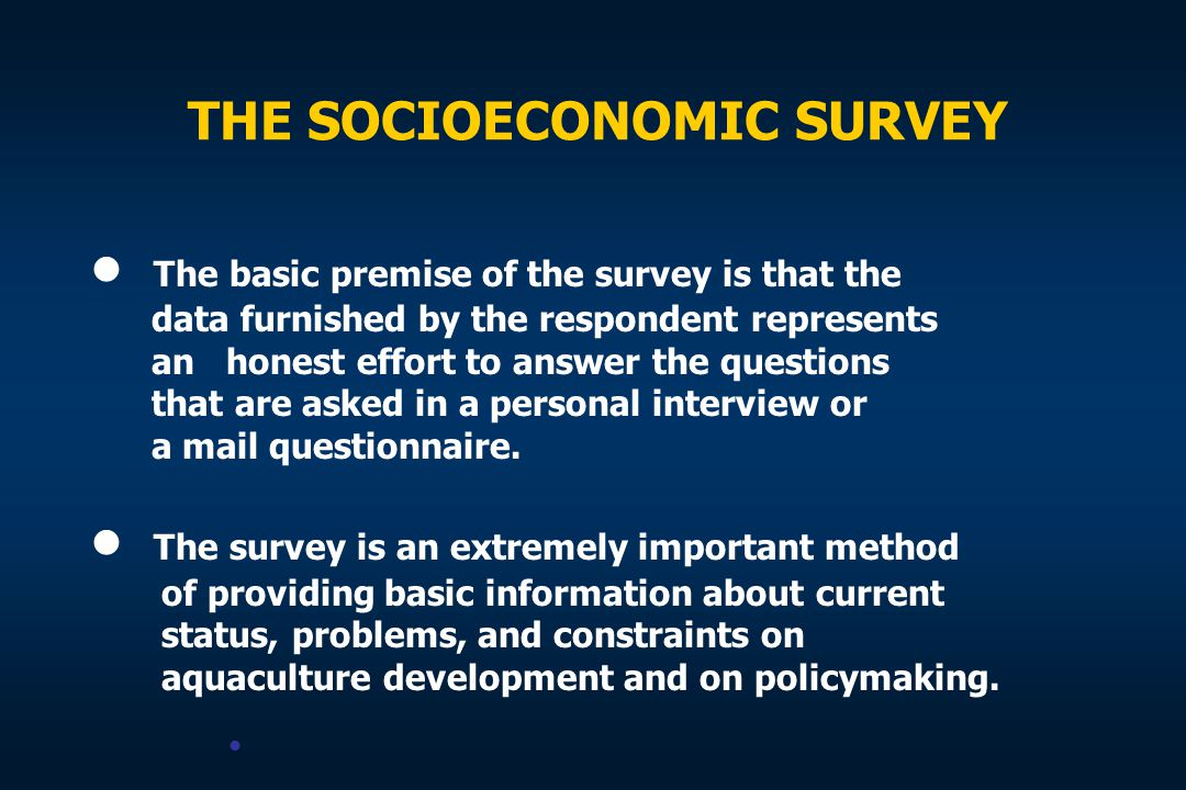 THE SOCIOECONOMIC SURVEY The basic premise of the survey is that the data furnished by the respondent represents an honest effort to answer the questi