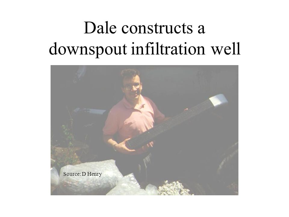 Dale constructs a downspout infiltration well Source: D Henry